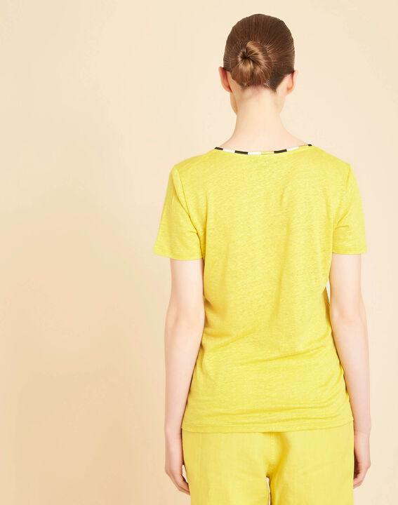 Tee-shirt anis encolure fantaisie en lin Elin (4) - 1-2-3