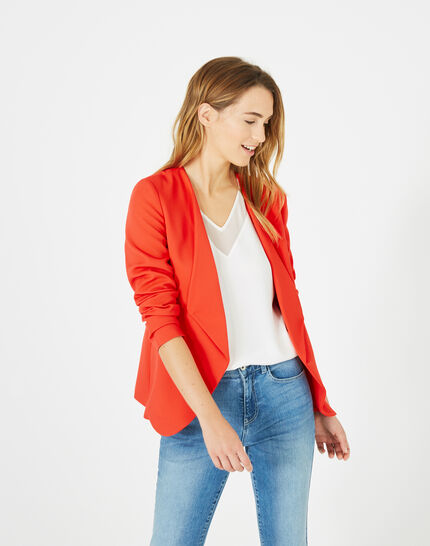 Maite red jacket with tailored collar (3) - 1-2-3