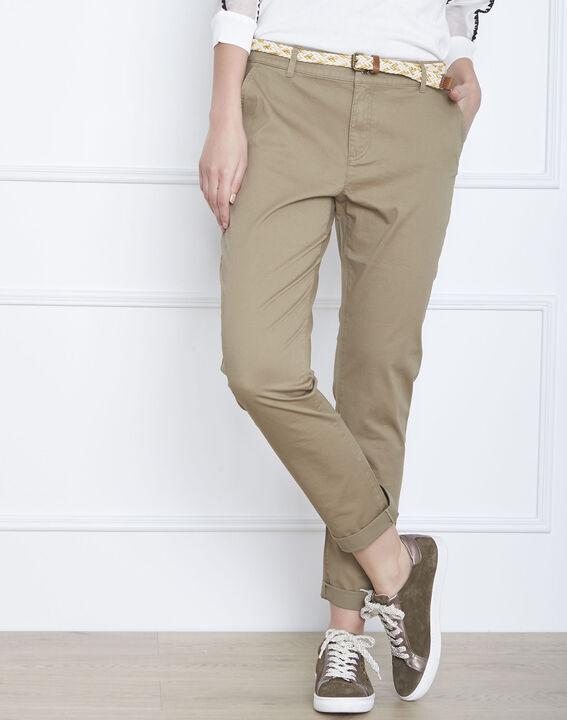 Pantalon kaki chino ceinture fantaisie Francis PhotoZ | 1-2-3