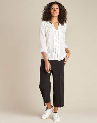 Graziella white blouse with guipure detailing ecru.
