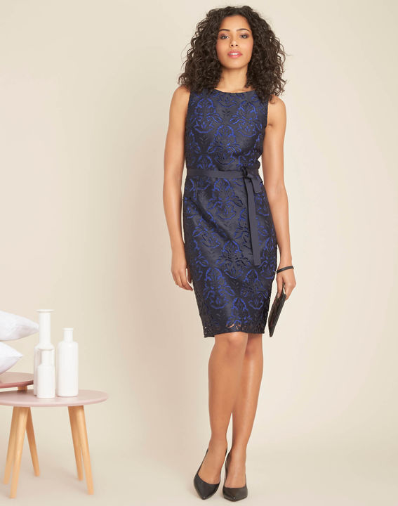 Icone navy lace dress with grosgrain belt (3) - 1-2-3
