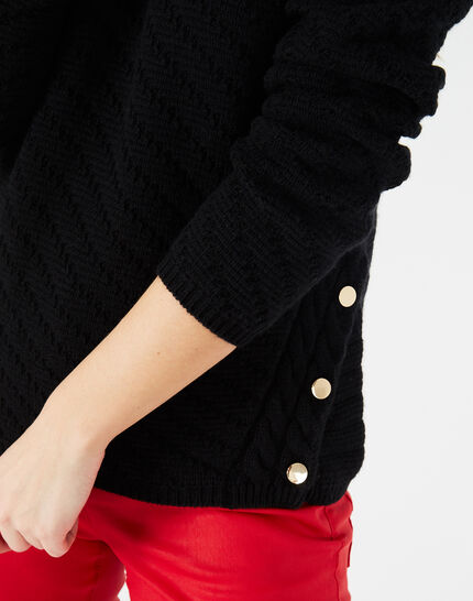 Paco black sweater with rounded neckline and golden buttons (3) - 1-2-3