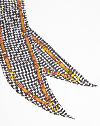 Cravate ceinture en soie imprimé graphique franklin black.
