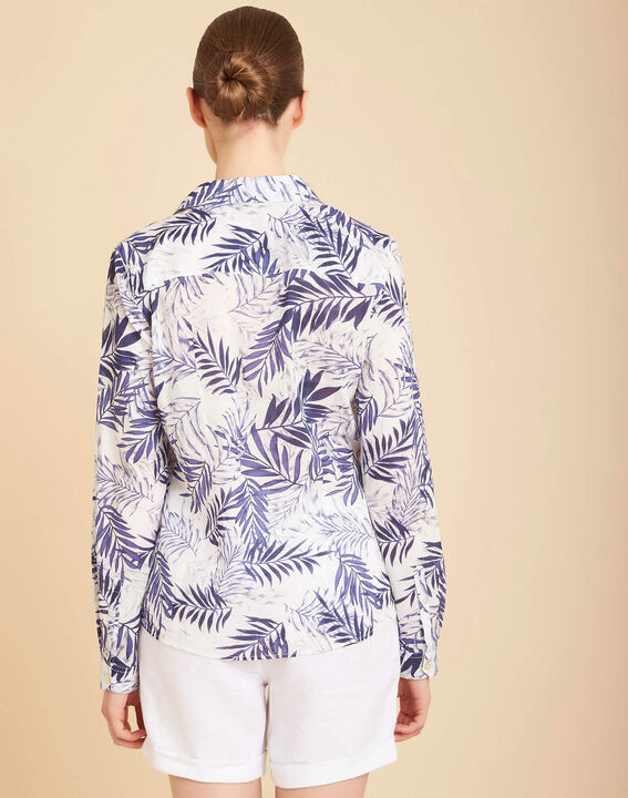 Ravel blue palm printed shirt in cotton (4) - 1-2-3