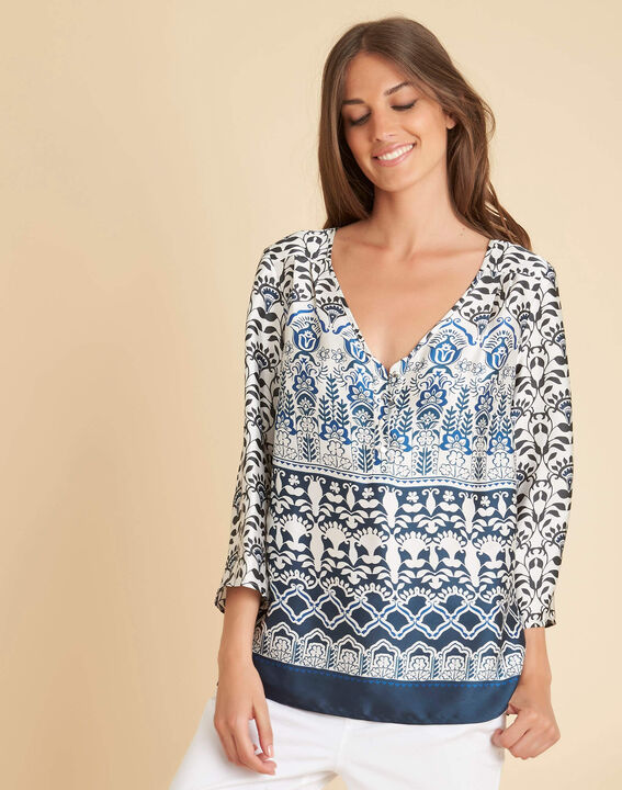 Douna navy blue blouse with floral print (3) - 1-2-3