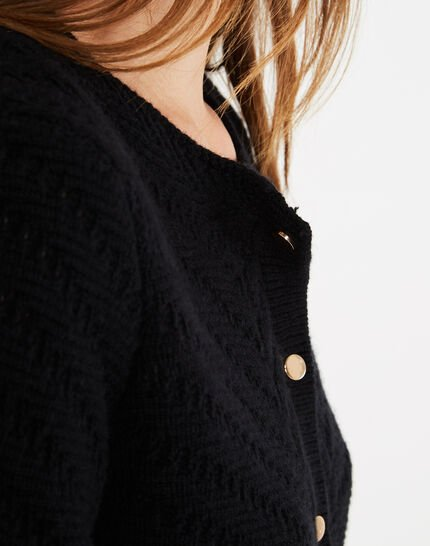 Piccolo black cardigan with golden buttons (3) - 1-2-3