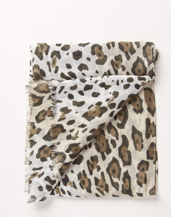 Foulard kaki imprimé léopard Anis PhotoZ   1-2-3