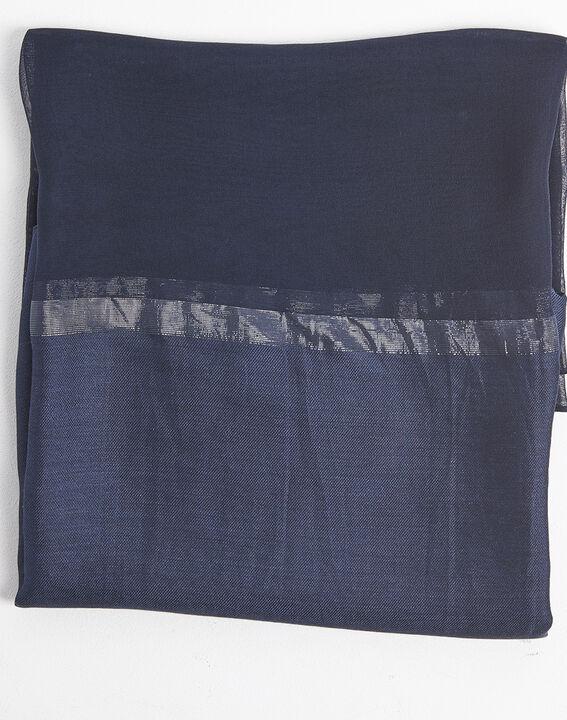 Blauwe hoofddoek van zijde en modaal met iriserende strepen Fidji PhotoZ | 1-2-3
