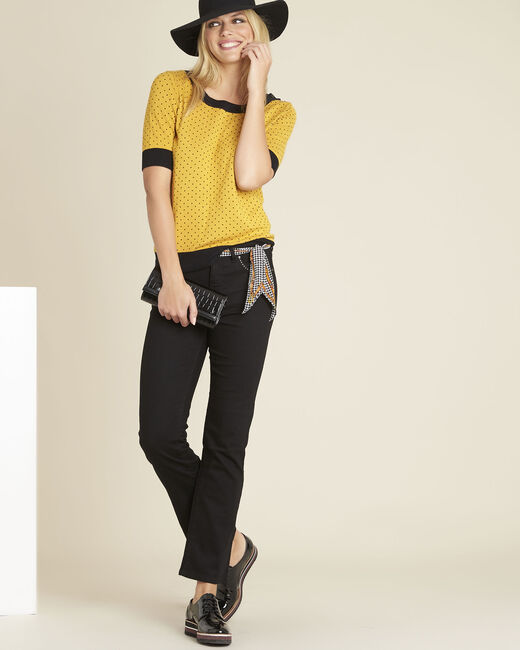 Becca yellow polka dot sweater with contrasting trim (2) - 1-2-3