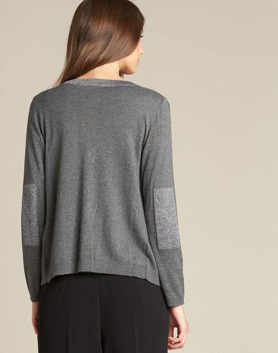 Graue Strickjacke aus Baumwoll-Mix mit glänzendem Ausschnitt Nathalie (4) - 1-2-3