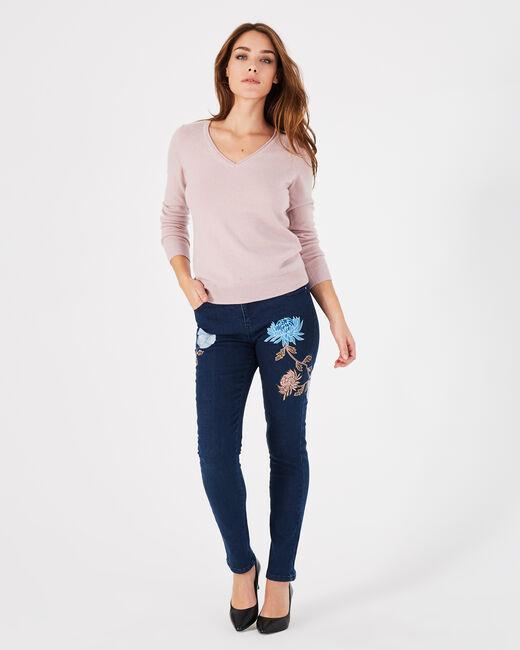 Noémie 7/8 length embroidered indigo jeans (1) - 1-2-3