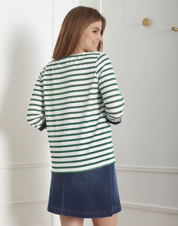 Tee-shirt vert rayures brillantes Payure (3) - Maison 123