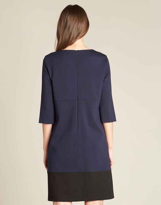 Patty straight-cut navy blue dress with zips (4) - 1-2-3