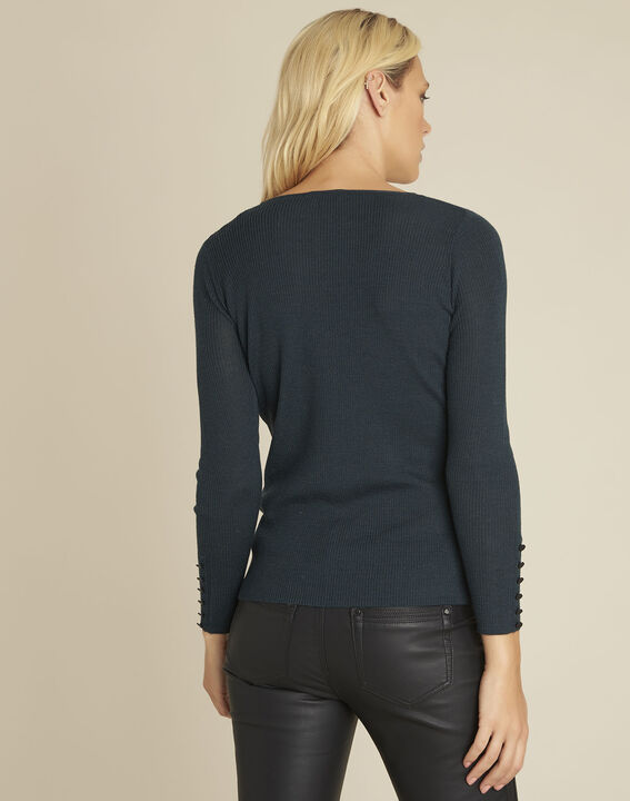 Bassus dark green fine knit pullover with buttoned sleeves (4) - Maison 123