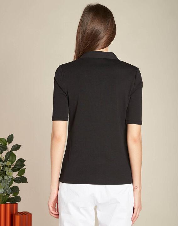 Tee-shirt noir col à strass Elias (4) - 1-2-3