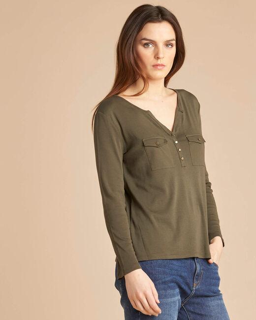 Tee-shirt kaki manches 3/4 Edith (2) - 1-2-3