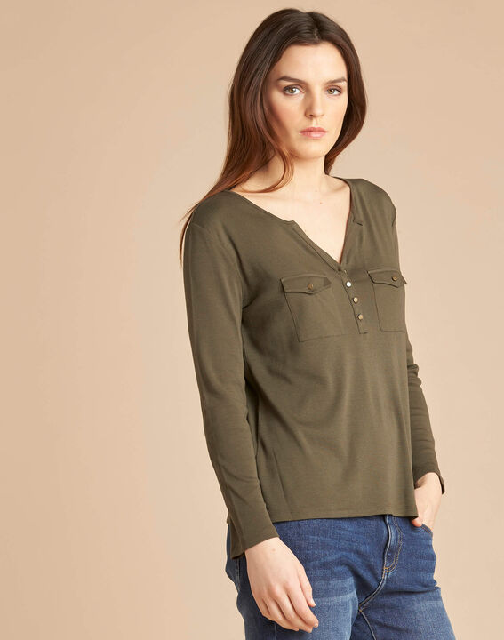 Edith khaki T-Shirt with 3/4 length sleeves (3) - 1-2-3