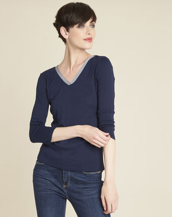 Galvani navy blue t-shirt with shiny neckline royal blue.