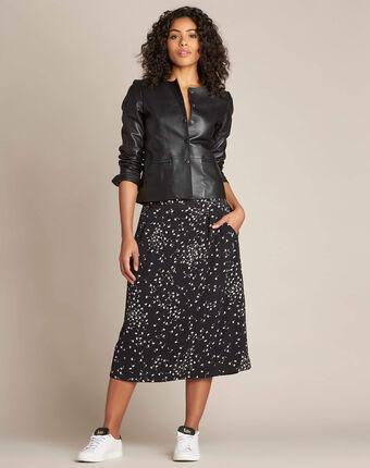 Jupe mi-longue noire imprimé ginko lassie noir.