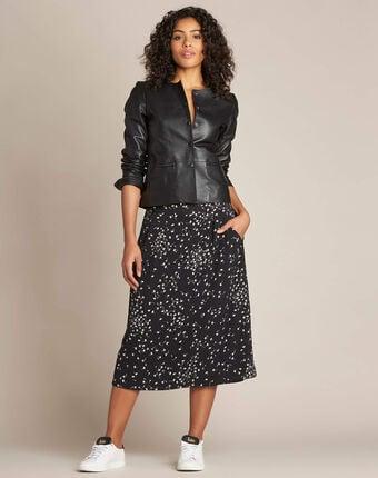 Lassie gingko print black midi skirt black.