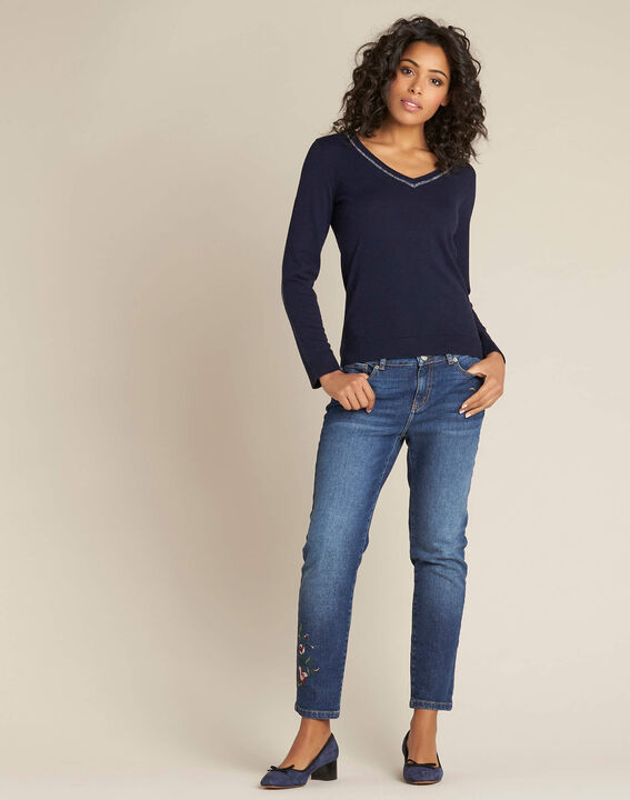 Newyork navy blue sweater in wool and silk with shiny neckline (2) - 1-2-3