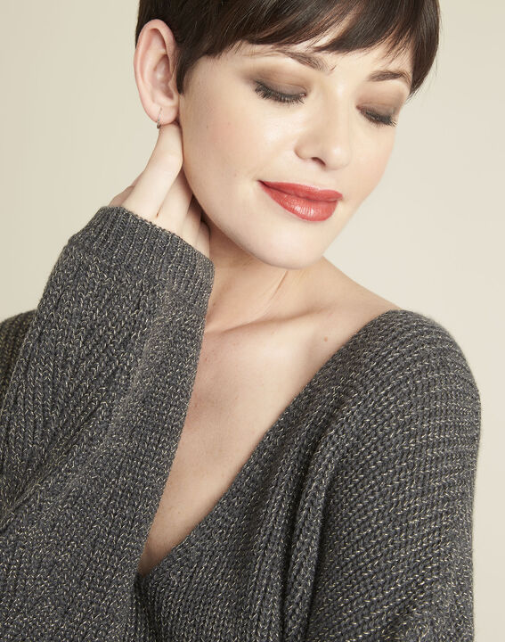 Blanche khaki V-neck knit pullover (3) - 1-2-3