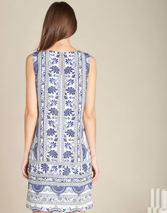 Pistil navy blue printed dress in silk (4) - 1-2-3