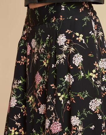 Jupe noire dansante imprimé fleuri lassie noir.