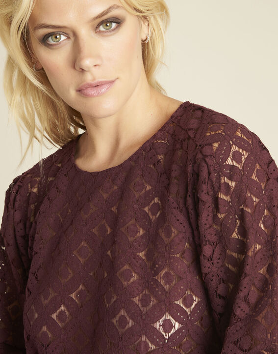 Caoula burgundy blouse in lace (3) - Maison 123