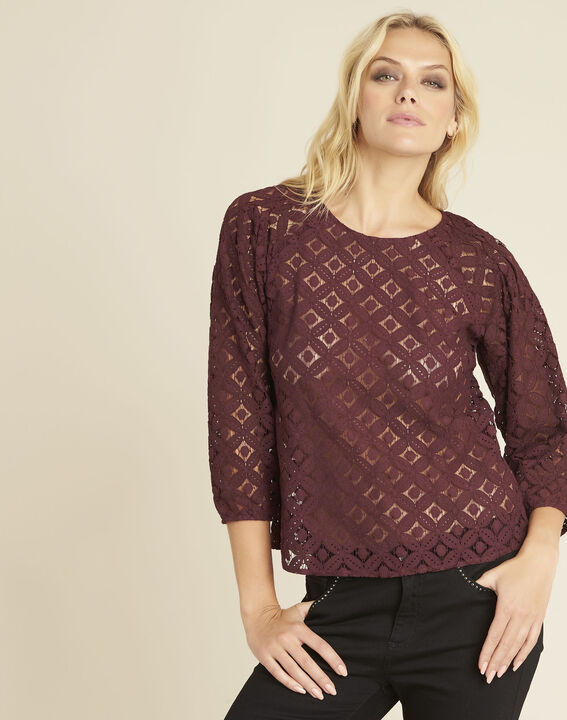 Bordeauxrode blouse van kant Caoula PhotoZ | 1-2-3