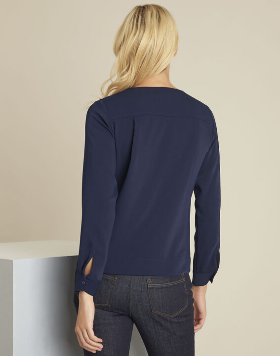 Capucine navy blouse with jewel detail neckline (4) - Maison 123