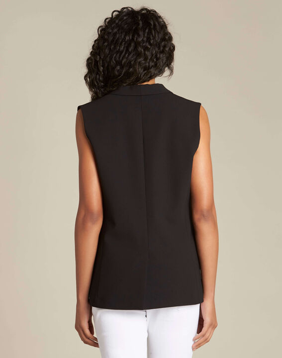 Cool sleeveless black jacket with cowl neckline (4) - 1-2-3