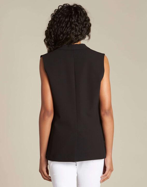 Cool sleeveless black jacket with cowl neckline (4) - 1-2-3