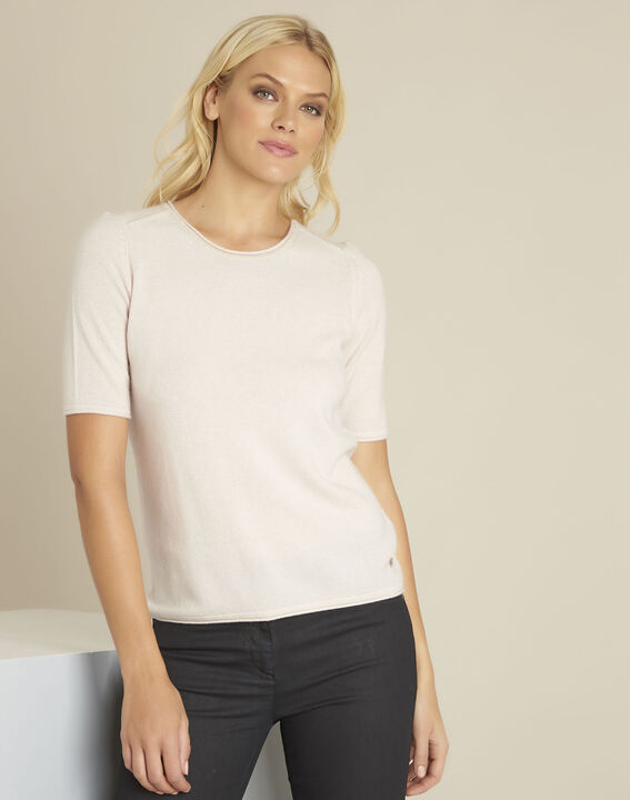 Ballet nude wool cashmere pullover with short sleeves PhotoZ | 1-2-3