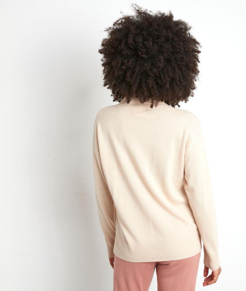 Pull à col montant en polyester recyclé beige clair Tibo PhotoZ | 1-2-3