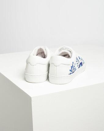 Baskets blanches fleuries en cuir kristy blanc.
