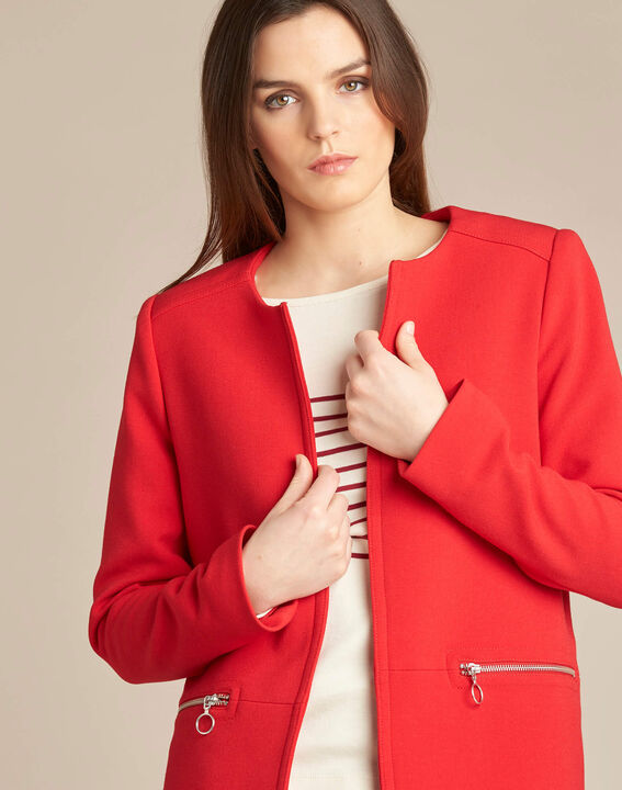 Kaya red straight-cut 3/4 length coat with zip detailing (1) - 1-2-3