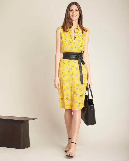 Gelbes Hemdkleid mit Print Patou (1) - 1-2-3