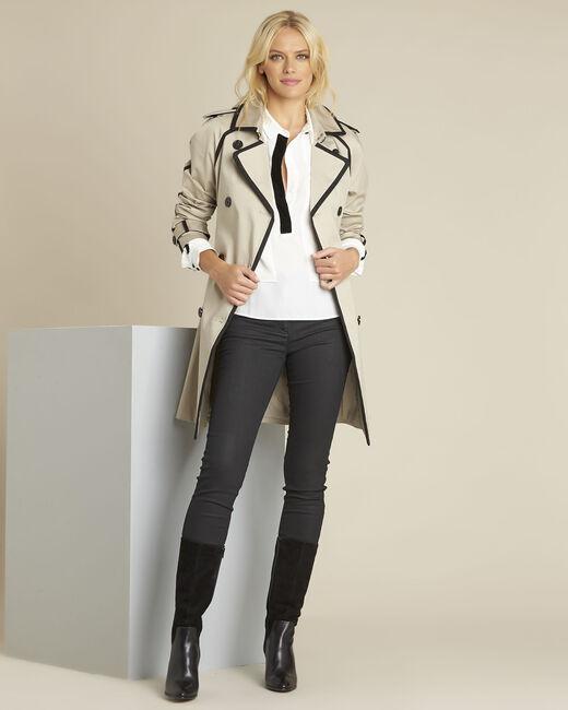Ecrufarbene Bluse mit kontrastfarbenem Schrägband Cali (1) - 1-2-3