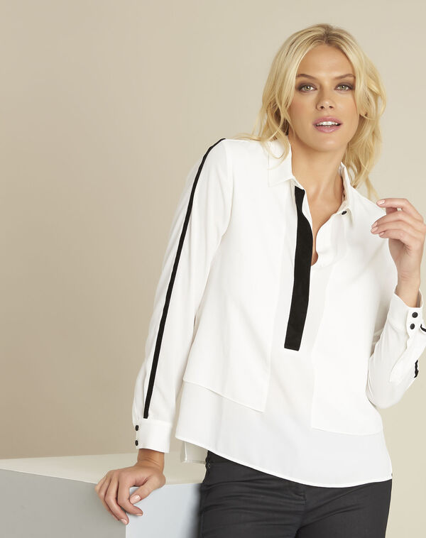 Cali ecru blouse with contrasting bias (1) - 1-2-3