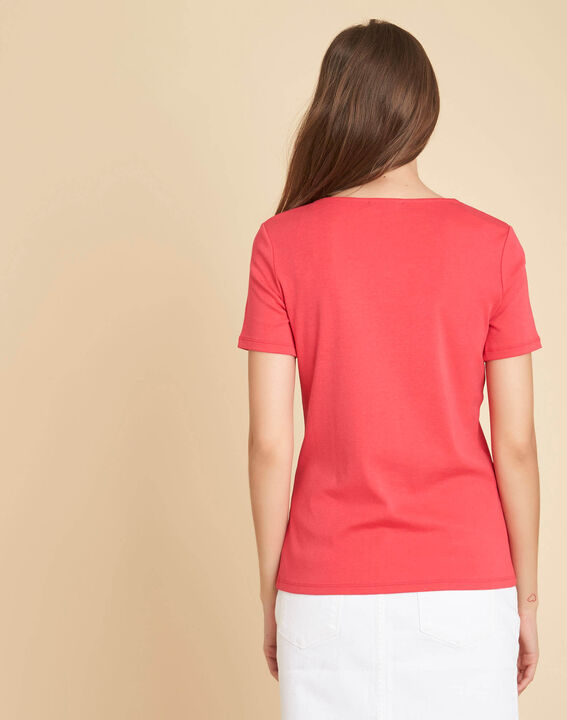 Tee-shirt rouge encolure fantaisie Etincelant (4) - 1-2-3
