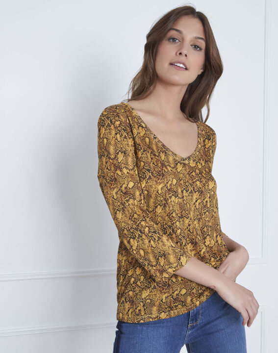 Tee-shirt jaune imprimé serpent Pavel (2) - Maison 123