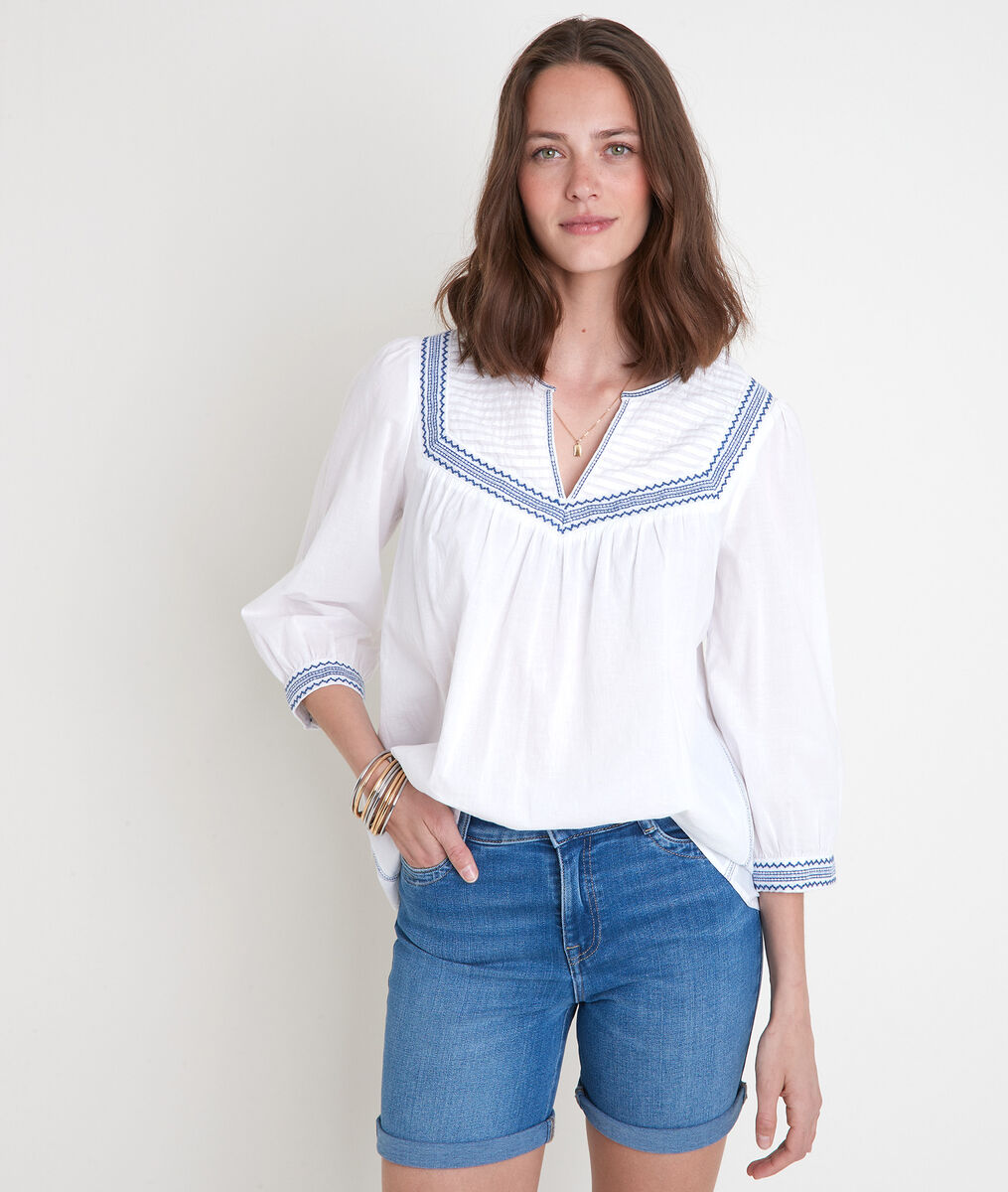 Witte blouse met borduurwerk Talissa PhotoZ | 1-2-3