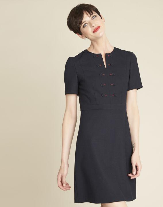 Delia short navy blue dress with button detailing PhotoZ | 1-2-3