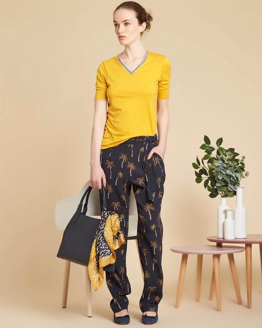 Pantalon noir imprimé palmier Scoty (2) - 1-2-3