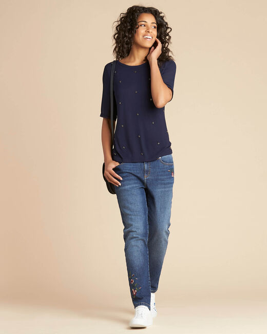 Eclipse navy blue polka dot T-shirt with beading and Georgette sleeves (1) - 1-2-3