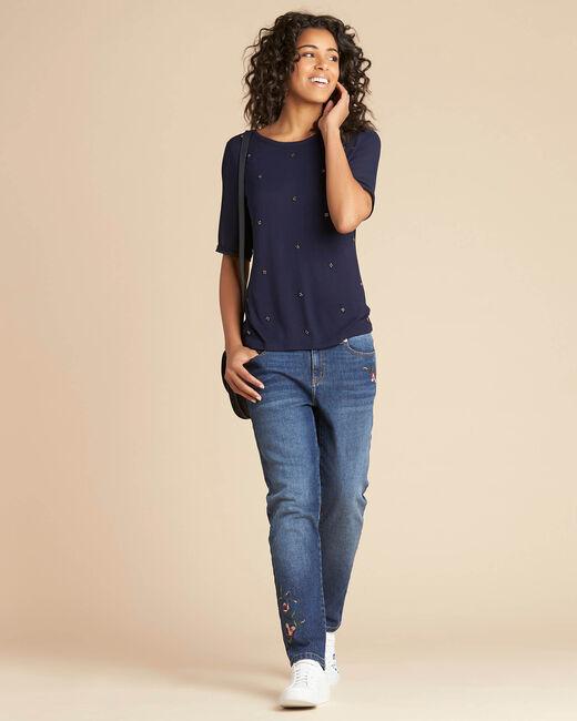 Tee-shirt marine à pois perles et manches georgette Eclipse (1) - 1-2-3