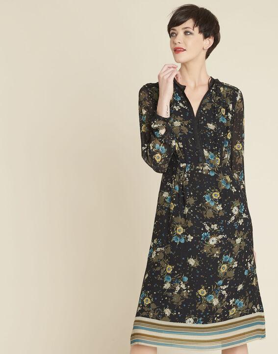 Robe noire imprimé fleuri Dolores PhotoZ | 1-2-3