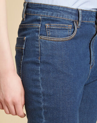 Donkerindigo slim fit jeans met hoge taille venice indigo fonce.