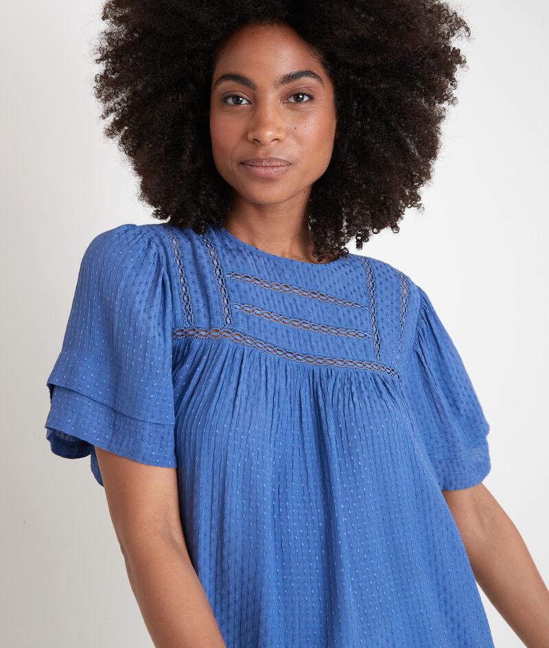 Blouse ample avec dentelle bleue Abi PhotoZ | 1-2-3